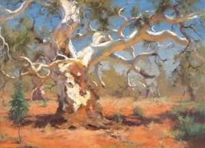 Kasey Sealy - Red Gum, Silverton, Australia - oil on panel - 17,75x24 in