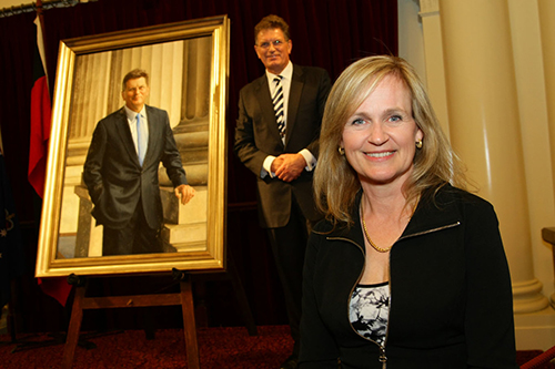 sally-ryan-ted-baillieu-portrait-at-the-parliament-victoria